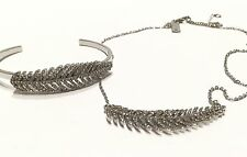 INC International Concepts Silver-tone Pave Feather Necklace & Cuff NWOT