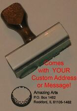 Golf Ball Rubber Stamp With Custom Address or Message