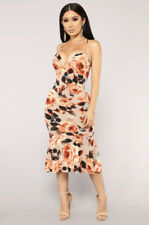 fashion nova Nude/orange Floral Print Dress (M) uk- 10, 12
