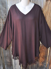 """ART TO WEAR MISSION CANYON RUBY TOP IN BEAUTIFUL SOLID COCO BROWN, OS+,56""""B!"""
