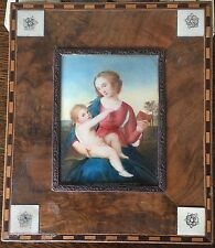 Antique Miniature Portrait Hand Painted Nice Wooden Frame Madonna Child