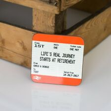Personalised Retirement Gift Coaster- Train Ticket Style Print - Fun Present