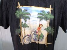 Paradise Found Black Large Hawaiian Shirt Girl on Motorcycle Ghost Leaves Rayon