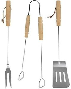 Magic Salt 3pc Stainless Steel BBQ Barbecue Utensil Cutlery Tool Set Outdoor UK