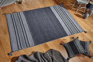 GREY CHARCOAL Cotton KILIM Handwoven DHURRIE Rug Runner Cushion S - L  -30%OFF