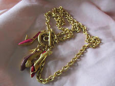 """BOB MACKIE 30"""" High Heel SHOE Necklace Enamel Toggle Clasp CZ Accent 1970's"""
