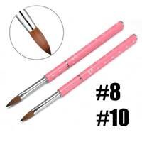 Acrylic Nail Brush 8# 10# Nail Art Kolinsky Sable Hair Pink Metal Handle Tool