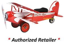 MORGAN CYCLE RED STEEL ACE FLYER BIPLANE AIRPLANE FOOT TO FLOOR RIDE-ON TOY NEW
