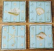 Nautical Glass Duck Egg Blue Shell and Starfish Shabby Chic Coasters - Set of 4