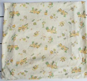 """Vtg Carters Baby Changing Pad Cover Sheet 28"""" x 30"""" Yellow Green Toys Train Jack"""