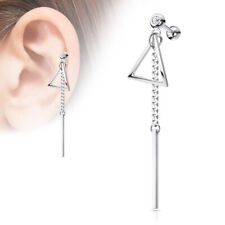 Ear Cartilage Ring 316L Surgical Steel Bar on Chain Triangle Tragus Stud Helix