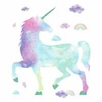 Glittery Galaxy Unicorn GIANT Wall Decals Rainbow Clouds Kid Room Decor Stickers