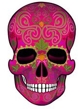 "SUGAR SKULL Dia de los Muertos Day of the Dead DECAL STICKER-Pink/ 2pk 4""x 2.5"""