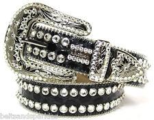 BB Simon Swarovski Crystal Black Leather Belt 32 L New