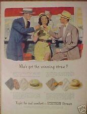 1946 Stetson Vintage Men's/Women's Straw Hats Print Ad