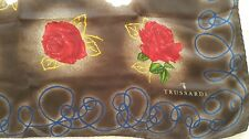 Vintage TRUSSARDI Design Silk Red White Roses Headscarf SCARF 86 x 86cm Square