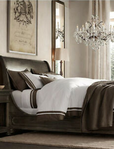 NWT Restoration Hardware Taupe Brown Italian Framed Sateen Sheet Set Cali King