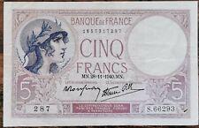 Billet 5 francs VIOLET 28 - 11 - 1940 FRANCE S.66293