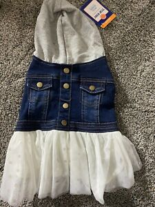 Top Paw Blue Denim Jean Jacket Hoodie Fluffy Tulle White Skirt Dog Dress Coat M