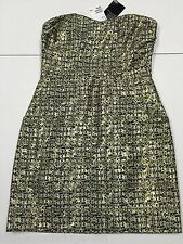 BNWT H&M SIZE 10 GOLD/BLACK LADIES STRAPLESS LINED BACK ZIP DRESS (RP £34.99) 3H