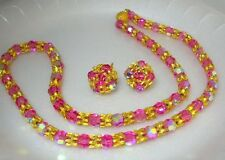 Vintage Costume Jewelry Vogue Pink Glass Crystal Necklace Earrings Set High End
