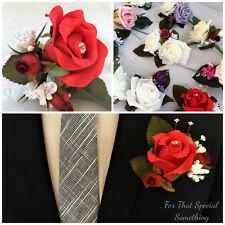 D) Wedding buttonholes flowers corsage bride bridesmaid groom red rose bud