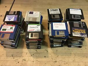"Lot 10 Random 3.5"" Floppy Disks Used Games Programs Atari IBM More"