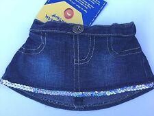 Build a Bear Teddy Bear Clothing - New Girls Denim Skirt with Sequin Trim - New
