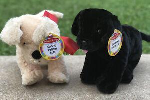 Melissa and Doug Benson Black Sunny Yellow Lab Plush Dogs Puppies NWT