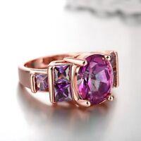 18K Rose Gold GP Lady's Purple Swarovski Crystal Wedding Engagement Ring Fashion