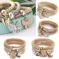 Fashion Women 3Pcs Gold Silver Rose Gold Bracelets Set Crystal Bangle Jewelry