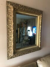 Antique Ornate Gold Carved Gesso Wall Mirror Victorian
