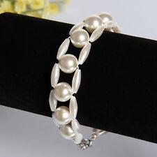 New Craft Cream Pearls Bead Female Hotsale Charm Bangle  Ladies Bracelet 8 inch
