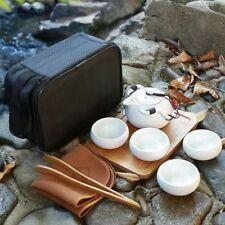 Ceramic Travel Tea Set Teapot and Teacups with Portable Travel Bag