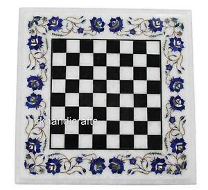 18 Inches Marble Game Board Table Top Inlay Art Coffee Table with Royal Pattern