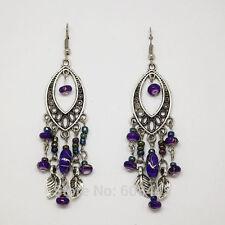 Tibetan Silver Bohemian Vintage Style Purple Beads Leaves Tassel Drop Earrings