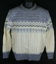 Vintage Jantzen Sweater White & Grey Fair Isle USA Size Medium