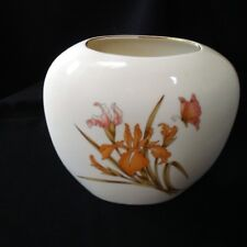 """White Japanese Vase Orchids with Butterfly 7 1/4"""" Narrow Oval"""