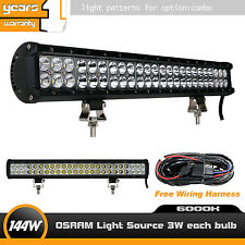22inch 144W Cree LED Light Bar Flood Spot with Wiring Harness for Jeep Truck 12V