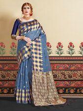 Bollywood Saree & Blouse Indian Sari Diwali Wedding Blue Woven Linen Silk -29770