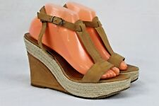 BCBG  Womens Shoes Wedge Sandals Leather Espadrille 9B/39