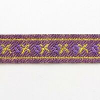 2 METRES 12mm PURPLE/ GOLD PATTERNED EMBROIDERED RIBBON TRIMMING CRAFT REB048