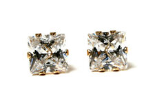 9ct Gold Square Cubic Zirconia stud Earrings Made in UK Gift Boxed studs