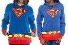 New Ladies juniors DC comics SUPERMAN Logo Zipup HOODY Sweatshirt Jacket sz- XL