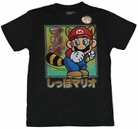 Super Mario Brothers Mens T-Shirt - Raccoon Crouched Mario in Japanese Box