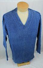 Mens Blue Willi's Pure Indigo Blue Cotton V Neck Sailing Sweater Denmark size L