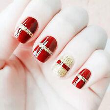 24 Pcs Wine Red Glitter Line Short Fake Nails Full Cover Nail Art False Nails BR