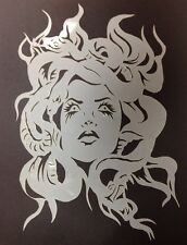 10Mil Laser Cut Mylar Stencil Medusa Looking Up Design For Airbrush Art Hobby