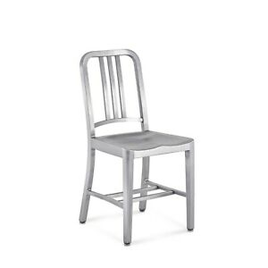 Authentic Emeco 1006 Navy Chair Brushed Aluminum Chair Dining Retro Vintage Look