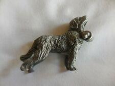 Vintage Spoontiques Pewter St. Bernard Figurine Rescue Dog with Barrel/Jug
